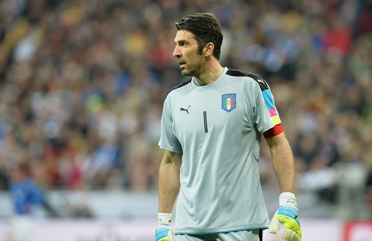 Italy goalkeeper Gianluigi Buffon during a friendly soccer match between Germany and Italy at the Allianz Arena in Munich, southern Germany, Tuesday, March 29, 2016. (AP Photo/Kerstin Joensson)