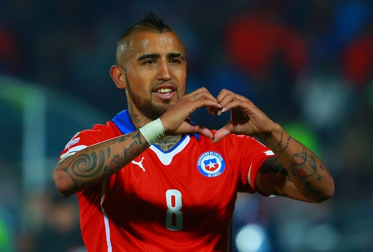 SANTIAGO, CHILE - JUNE 11: Arturo Vidal of Chile celebrates after scoring the opening goal through a penalty kick during the 2015 Copa America Chile Group A match between Chile and Ecuador at Nacional Stadium on June 11, 2015 in Santiago, Chile. (Photo by Miguel Tovar/LatinContent/Getty Images)