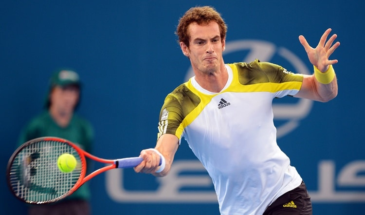 Andy Murray of Britain hits a forehand return in his semi-final match against Kei Nishikori of Japan at the Brisbane International tennis tournament, on January 5, 2013.   AFP PHOTO/William WEST  IMAGE RESTRICTED TO EDITORIAL USE - STRICTLY NO COMMERCIAL USEWILLIAM WEST/AFP/Getty Images